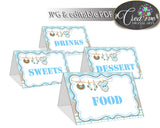 Baby shower Place CARDS or FOOD TENTS editable printable with boy clothes and blue color theme for boys, instant download - bc001