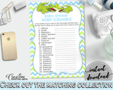 WORD SCRAMBLE baby shower game with green alligator and blue color theme, instant download - ap002
