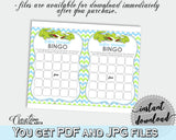 Baby Shower printable BINGO GIFT cards game with green alligator and blue color theme, Jpg Pdf, instant download - ap002