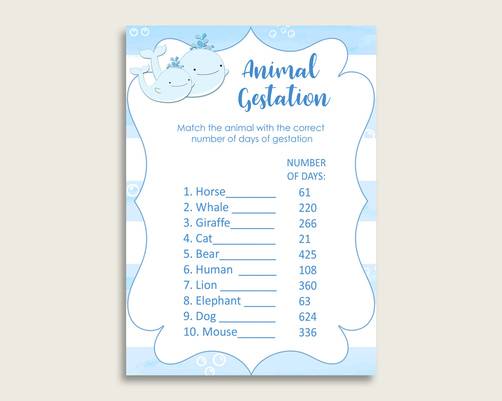 Whale Animal Pregnancy Gestation Game, Blue White Baby Shower Boy Printable Activities, Instant Download, Watercolor Stripes Nautical wbl01