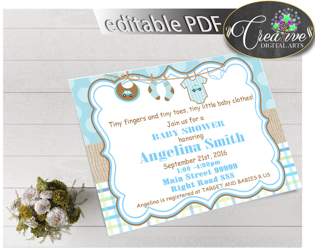 Baby Shower INVITATION editable Pdf with blue boy clothesline and blue color theme, digital Jpg included, instant download - bc001