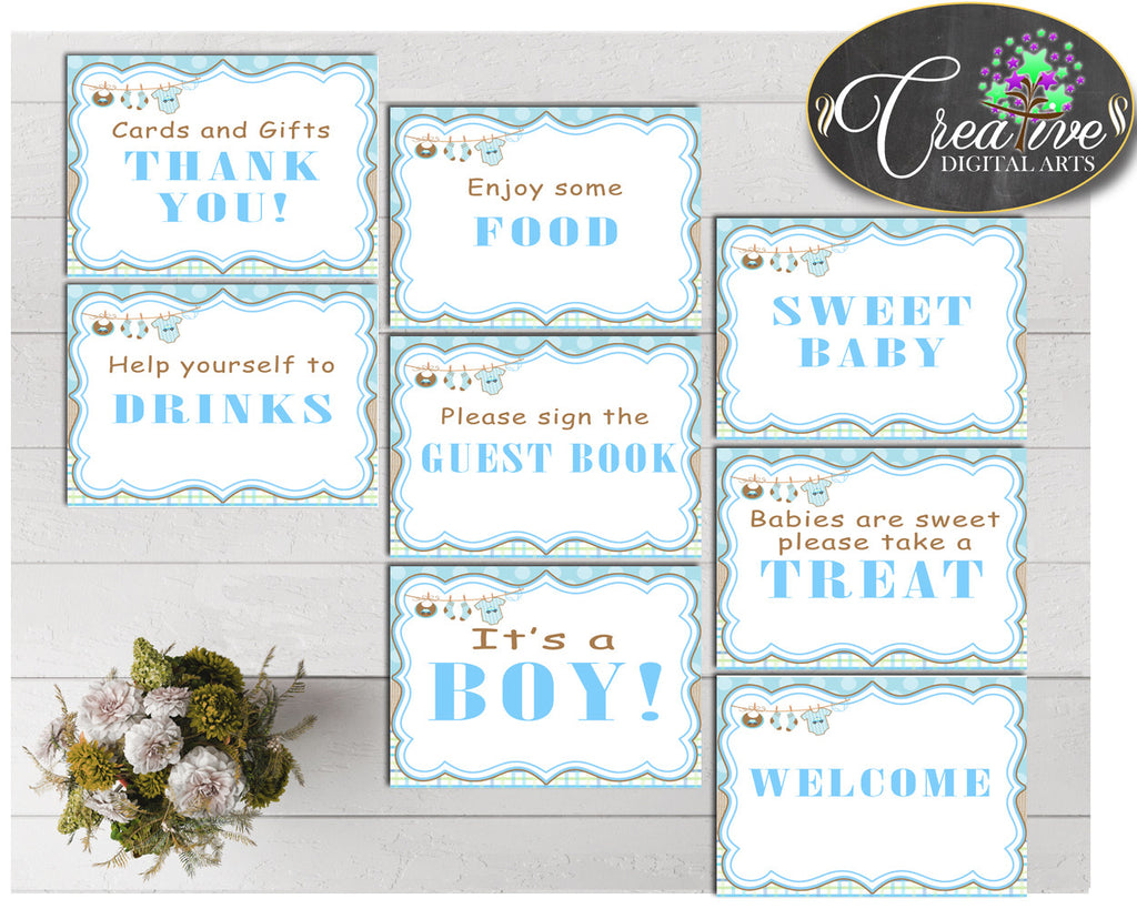 Baby shower TABLE SIGNS decoration printable with blue baby clothes and blue color theme, instant download - bc001