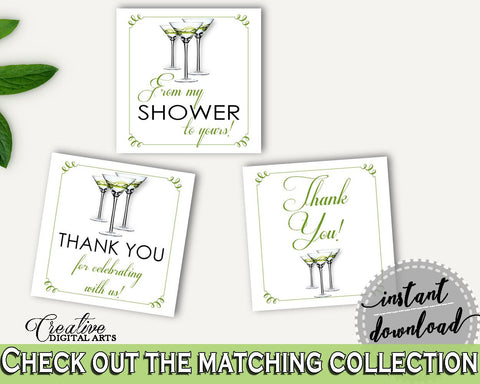 Favor Tags Bridal Shower Favor Tags Modern Martini Bridal Shower Favor Tags Bridal Shower Modern Martini Favor Tags Green White ARTAN - Digital Product