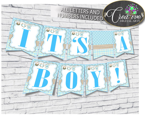 Baby shower BANNER decoration printable with boy blue clothesline and blue color theme, all letters, digital files, instant download - bc001
