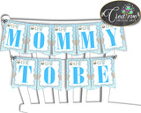 Baby shower CHAIR BANNER decoration printable with boy clothesline and blue color theme, digital files, instant download - bc001