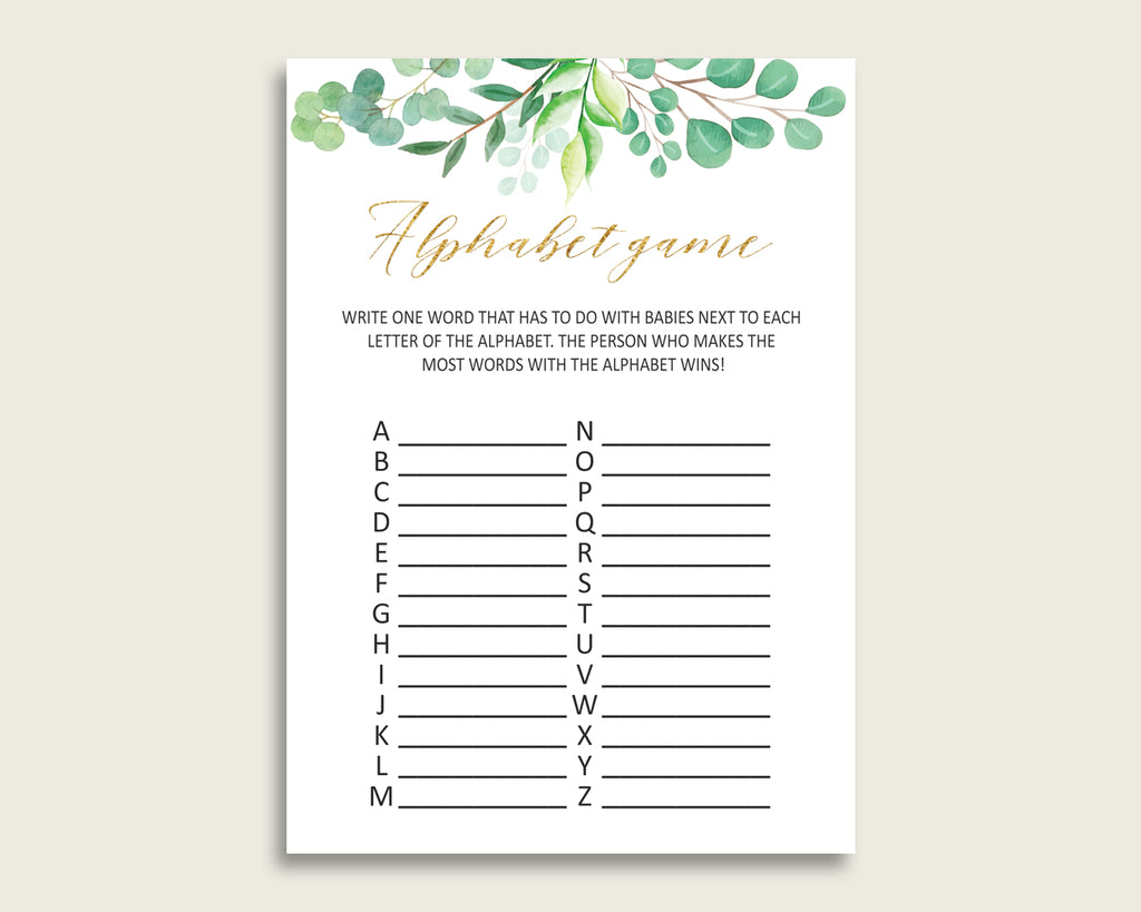 Green Gold Alphabet Baby Shower Gender Neutral Game, Greenery A-Z Guessing Baby Game Printable, ABC's Baby Item Name Game, Instant Y8X33