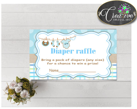 Baby shower DIAPER RAFFLE insert card printable for baby shower with boy clothes and blue color theme, Jpg Pdf, instant download - bc001