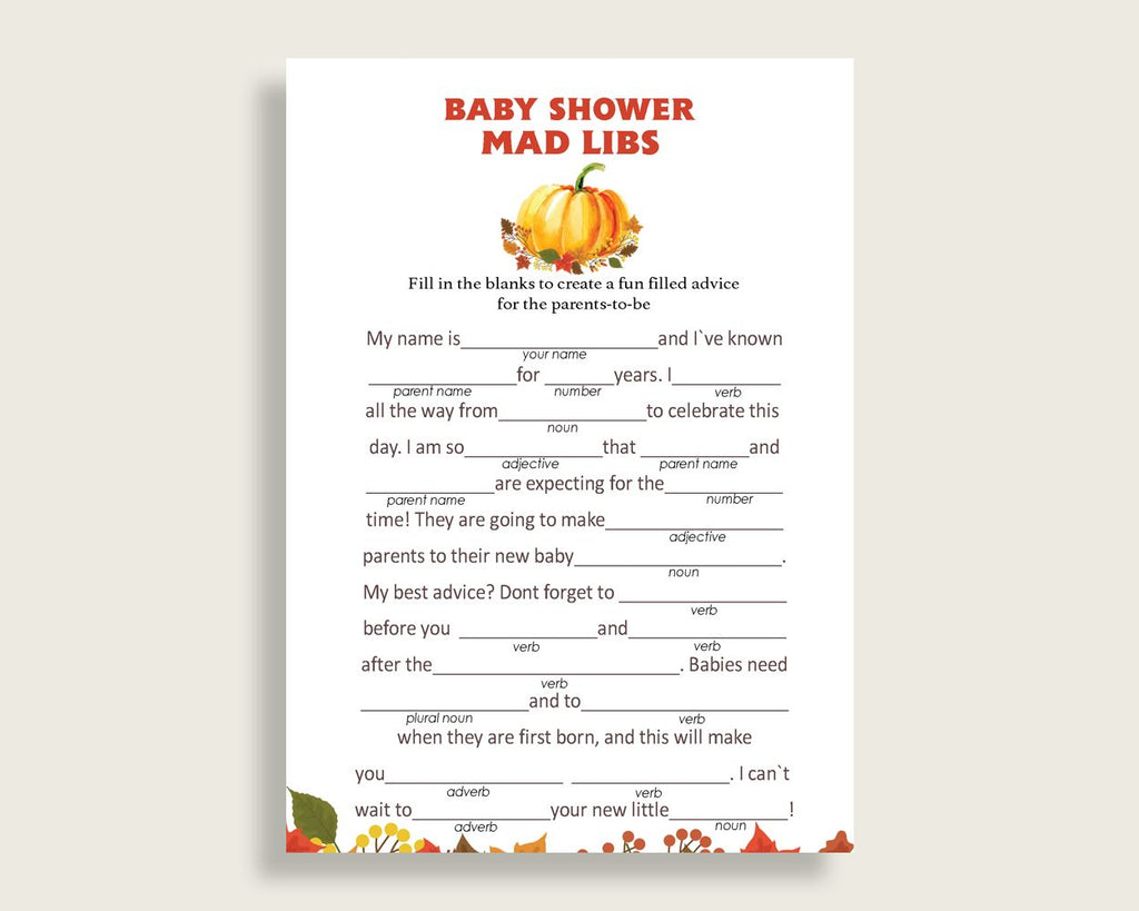 Mad Libs Baby Shower Mad Libs Fall Baby Shower Mad Libs Baby Shower Pumpkin Mad Libs Orange Brown party plan party decorations BPK3D - Digital Product