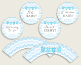 Chevron Cupcake Toppers, Blue White Cupcake Wrappers, Toppers Wrappers Baby Shower Boy, Instant Download, Stripy Lines Zig Zag Theme cbl01