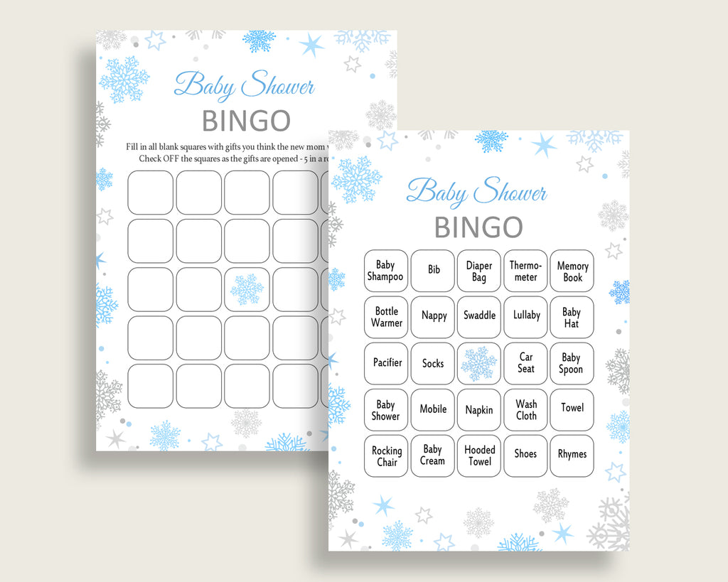 Bingo Baby Shower Bingo Snowflake Baby Shower Bingo Blue Gray Baby Shower Snowflake Bingo customizable files party theme printable NL77H