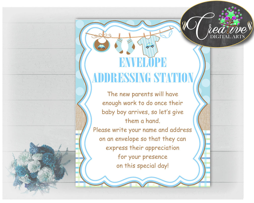 ENVELOPE ADDRESSING STATION baby shower sign with clothesline in blue color theme for baby boy shower, instant download - bc001