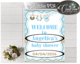 Baby Shower WELCOME sign editable with boy clothes and blue color theme printable, digital files, pdf jpg, instant download - bc001