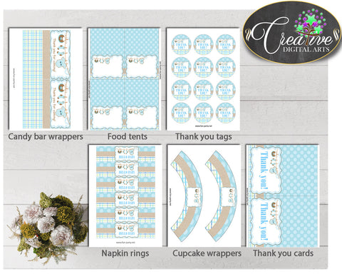 Blue Baby Shower Decoration package bundle printable with Boy Clothes for boys, Jpg Pdf - Instant Download - bc001
