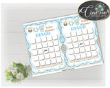 Baby Shower printable BINGO GIFT cards game with boy clothes printable and blue color theme, Jpg Pdf, instant download - bc001