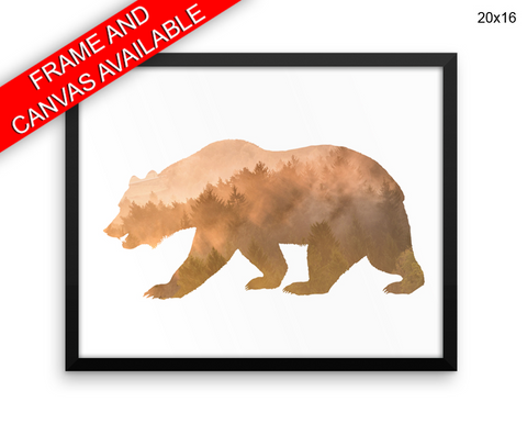 Bear Forest Print, Beautiful Wall Art with Frame and Canvas options available  Decor