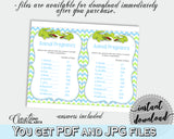 Baby Shower ANIMAL GESTATION game with green alligator and blue color theme, instant download - ap002