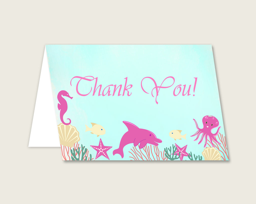 Pink Green Thank You Cards Printable, Under The Sea Baby Shower Thank You Notes, Girl Shower Thank You Folded, Instant Download, uts01