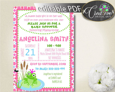 Frog Baby Shower INVITATION editable, baby shower invites, pink dots baby shower invitation printable, instant download - bsf01 - Digital Product