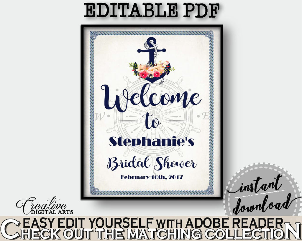 Bridal Shower Welcome Sign Editable in Nautical Anchor Flowers Bridal Shower Navy Blue Theme, welcome to shower, digital print - 87BSZ - Digital Product
