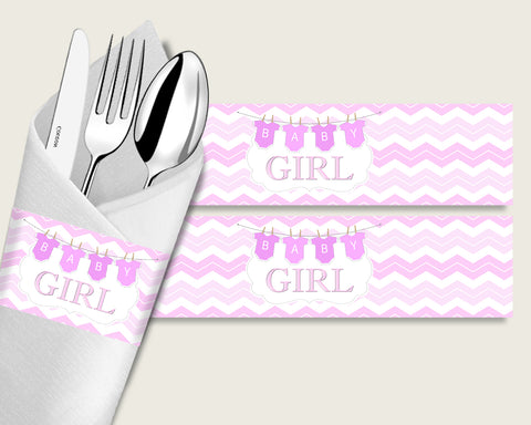 Chevron Baby Shower Napkin Rings Printable, Pink White Napkin Wrappers, Girl Shower Utensils Wrap, Instant Download, Zig Zag Theme cp001