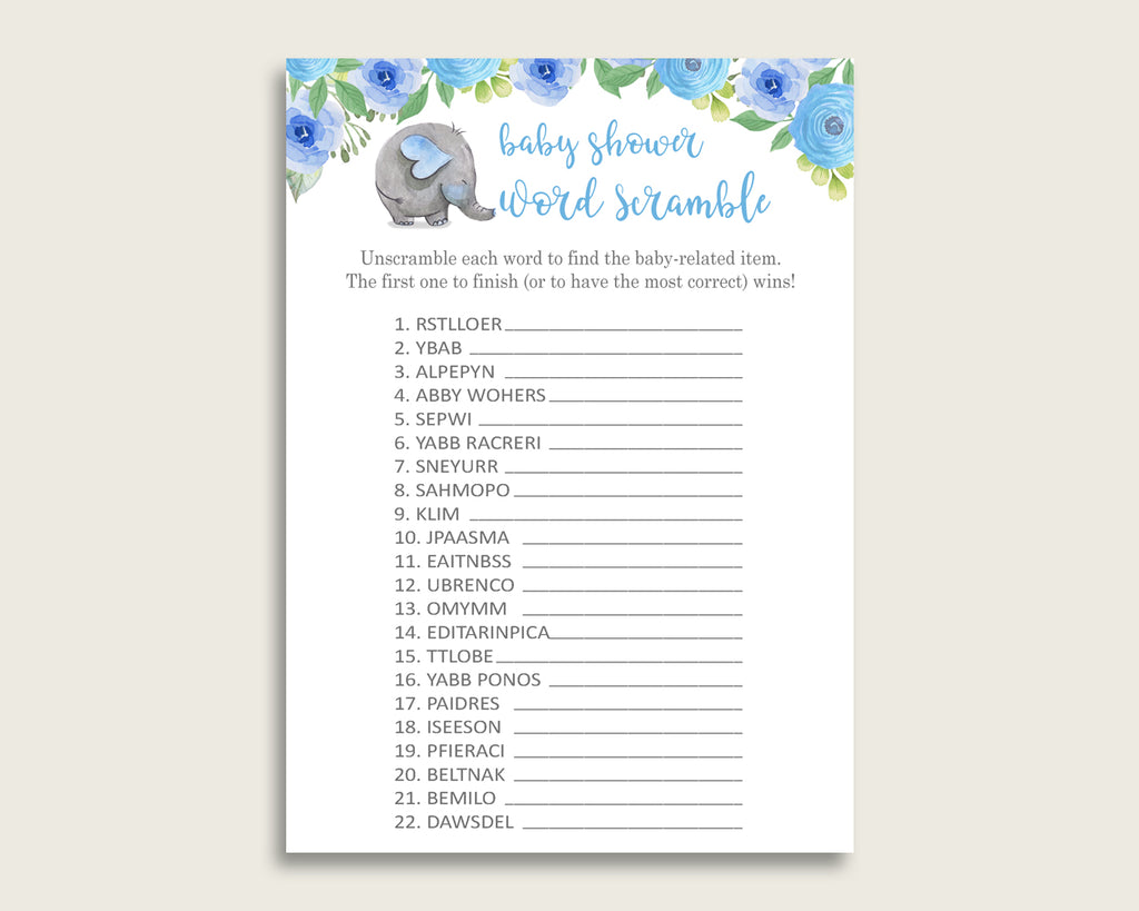 Boy Baby Shower Word Scramble Game Printable, Cute Elephant Blue Blue Gray Word Scramble, Funny Activity, Instant Download, Mammoth ebl01