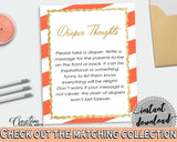 Baby shower DIAPER THOUGHTS game with orange strips theme printable, glitter gold, digital file jpg pdf, instant download - bs003