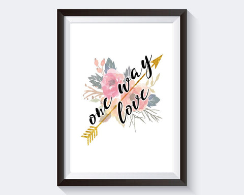 Wall Art One Way Love Digital Print One Way Love Poster Art One Way Love Wall Art Print One Way Love Love Art One Way Love Love Print One - Digital Download
