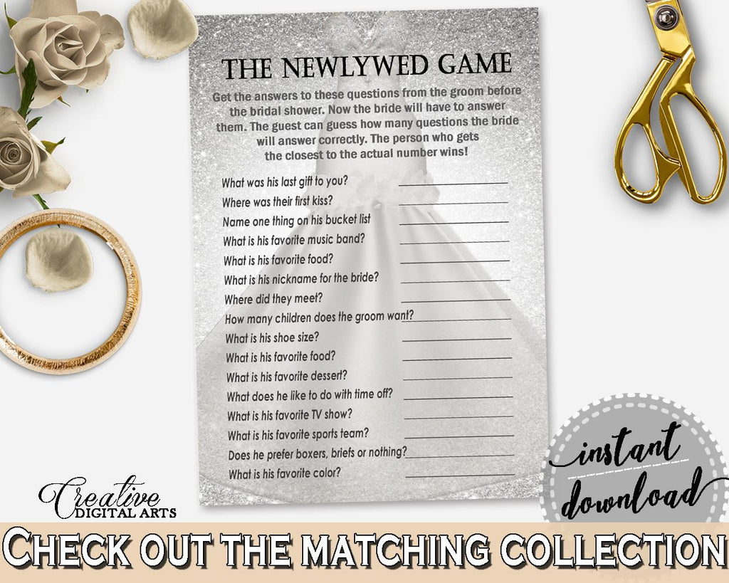 silver and white silver wedding dress bridal shower theme the newlywed game what did