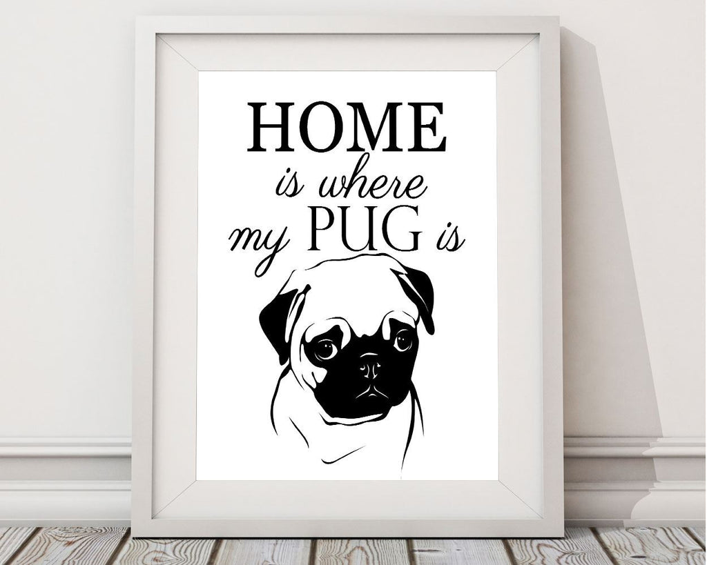 Wall Art Pug Digital Print Pug Poster Art Pug Wall Art Print Pug Home Art Pug Home Print Pug Wall Decor Pug pug puppies pugs - Digital Download