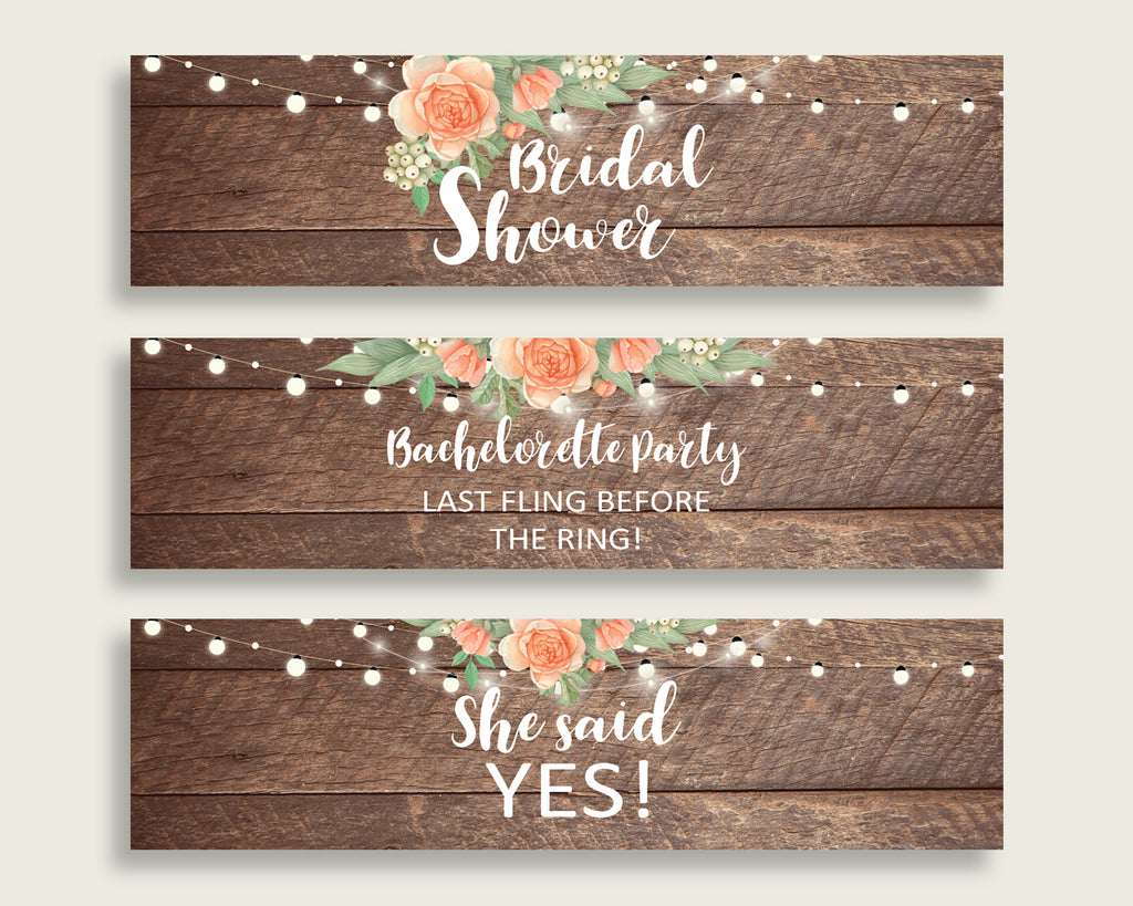 Bottle Labels Bridal Shower Bottle Labels Rustic Bridal Shower Bottle Labels Bridal Shower Flowers Bottle Labels Brown Beige pdf jpg SC4GE