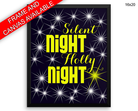 Silent Night Holly Night Print, Beautiful Wall Art with Frame and Canvas options available  Decor