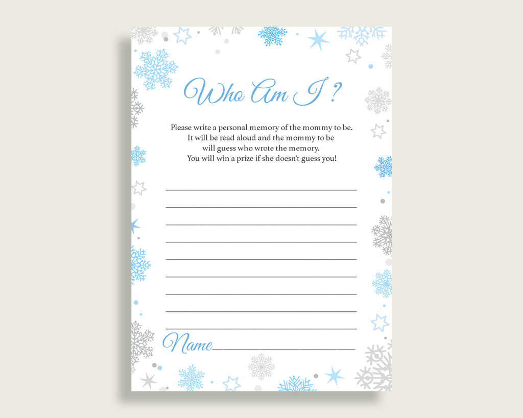 Who Am I Baby Shower Who Am I Snowflake Baby Shower Who Am I Blue Gray Baby Shower Snowflake Who Am I instant download printable NL77H