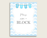 Blue White Please Sign A Block Sign and Decorate A Block Sign Printables, Chevron Boy Baby Shower Decor, Instant Download, Popular cbl01