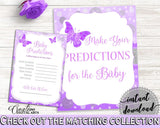 Baby Predictions Baby Shower Baby Predictions Butterfly Baby Shower Baby Predictions Baby Shower Butterfly Baby Predictions Purple 7AANK - Digital Product