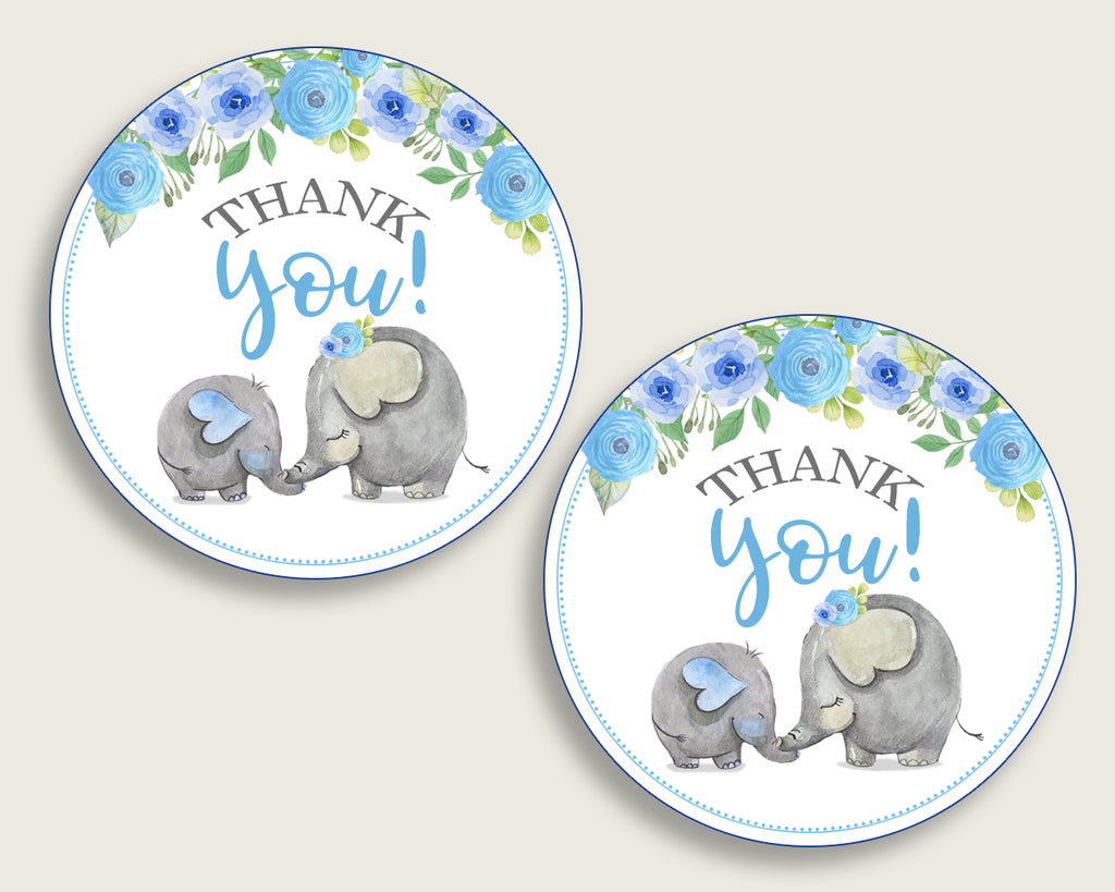 Elephant Blue Baby Shower Round Thank You Tags 2 inch Printable, Blue Gray Favor Gift Tags, Boy Shower Hang Tags Labels, Digital File ebl01
