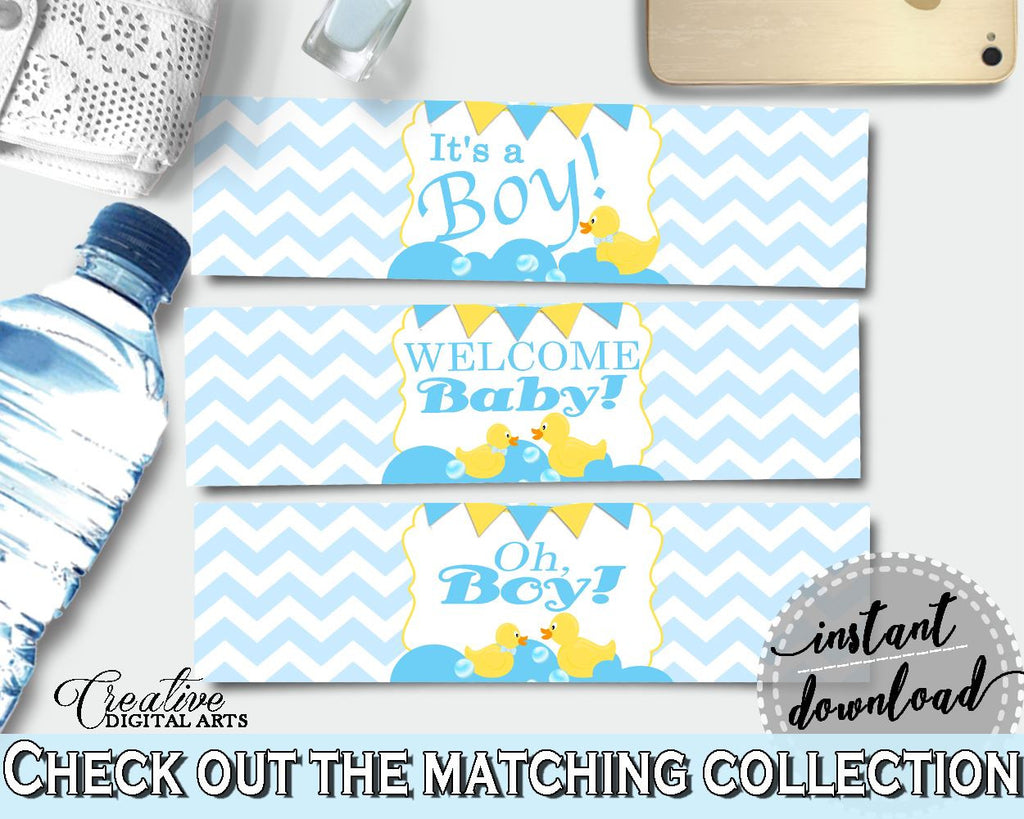 Baby Shower BOTTLE LABELS printable, rubber duck bottle labels, mint and blue baby shower labels, digital Pdf Jpg, instant download - rd002 - Digital Product