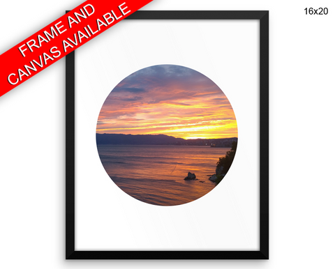 Sunset Print, Beautiful Wall Art with Frame and Canvas options available Circle Decor