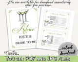 Advice Cards Bridal Shower Advice Cards Modern Martini Bridal Shower Advice Cards Bridal Shower Modern Martini Advice Cards Green ARTAN - Digital Product