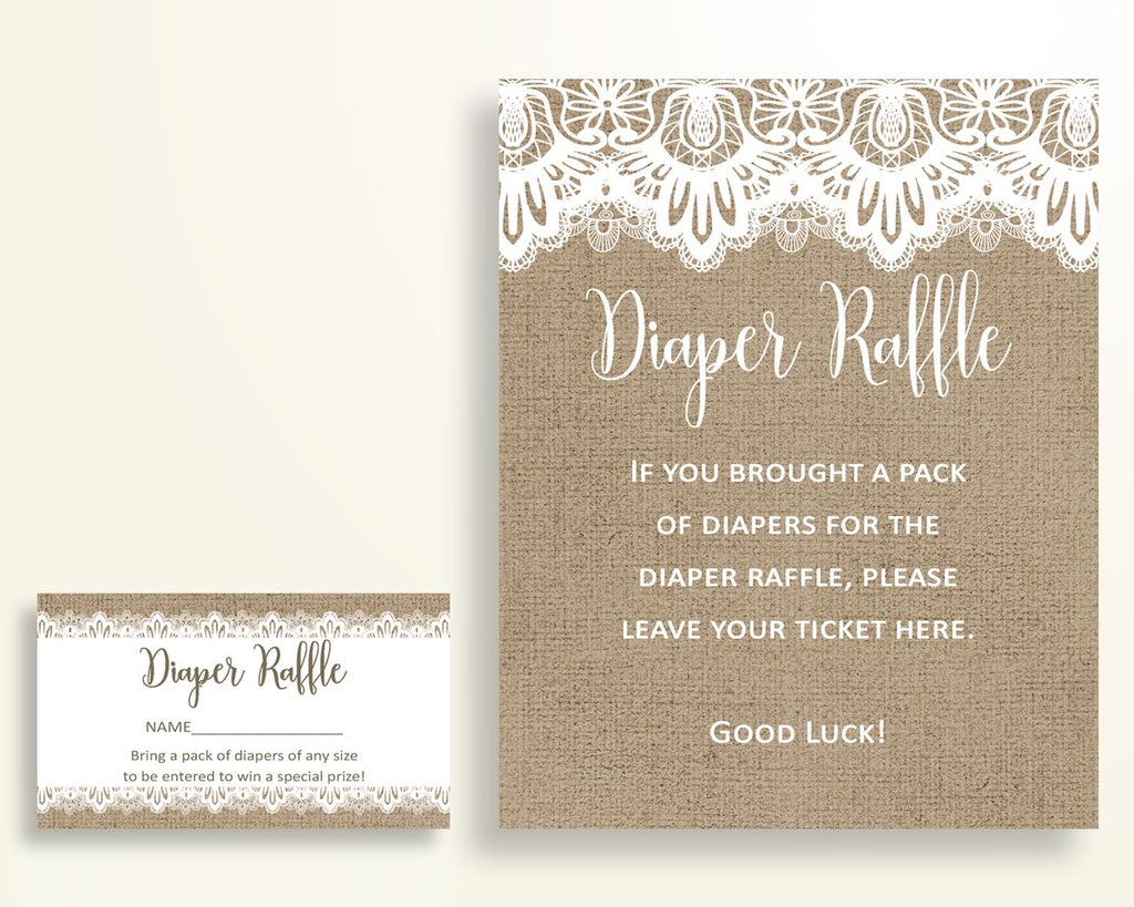 Diaper Raffle Baby Shower Diaper Raffle Burlap Lace Baby Shower Diaper Raffle Baby Shower Burlap Lace Diaper Raffle Brown White W1A9S - Digital Product