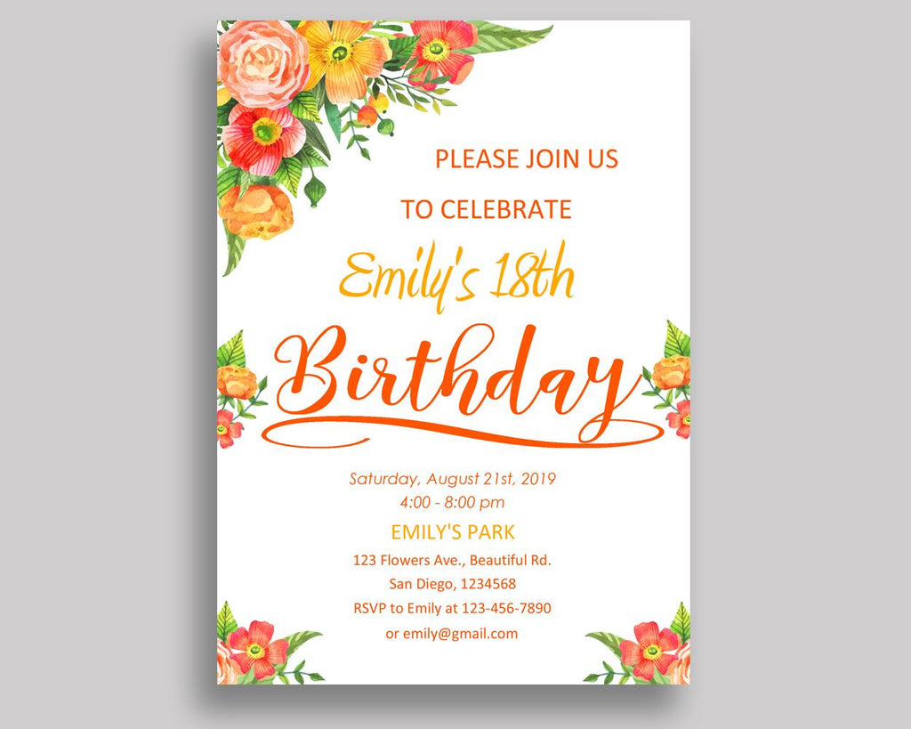 Flowers Colorful Birthday Invitation Flowers Colorful Birthday Party Invitation Flowers Colorful Birthday Party Flowers Colorful 09KIN - Digital Product