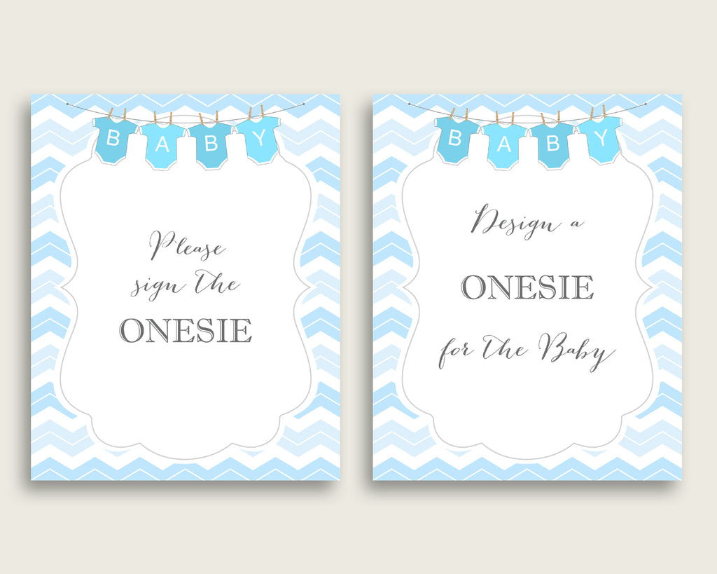 Blue White Please Sign The Onesie Sign and Design A Onesie Sign Printables, Chevron Boy Baby Shower Decor, Instant Download, Popular cbl01
