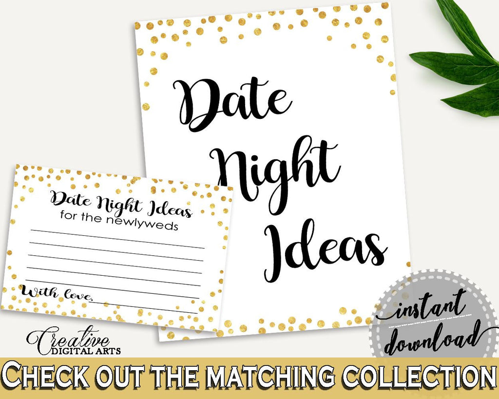 Date Night Ideas Bridal Shower Date Night Ideas Confetti Bridal Shower Date Night Ideas Bridal Shower Confetti Date Night Ideas Gold CZXE5 - Digital Product