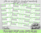 Baby shower WATER BOTTLE LABELS printable with chevron green theme, digital files Pdf Jpg, instant download - cgr01