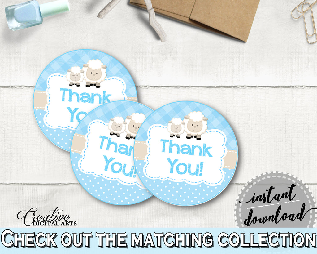 Baby shower Boy THANK YOU sheep round tag or sticker printable, little lamb favor tag, digital files Pdf Jpg, instant download - fa001