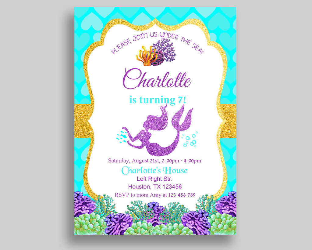 Mermaid Birthday Invitation Mermaid Birthday Party Invitation ...