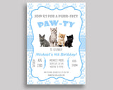 Cat Birthday Invitation Cat Birthday Party Invitation Cat Birthday Party Cat Invitation Boy kitty paw, cute kitten, digital invite HG8OX - Digital Product