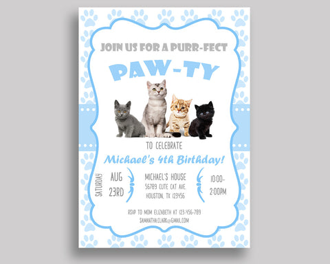 Cat Birthday Invitation Party Boy Kitty Paw