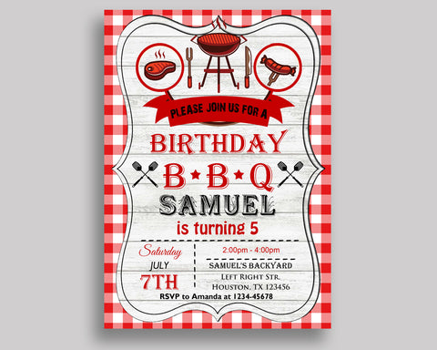 Barbecue Birthday Invitation Barbecue Birthday Party Invitation Barbecue Birthday Party Barbecue Invitation Boy Girl gingham H3YXW - Digital Product