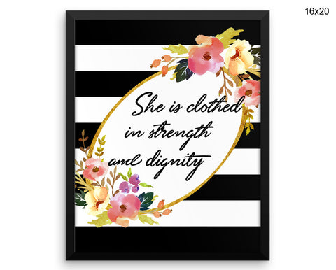 She Is Clothed In Strength And Dignity Print, Beautiful Wall Art with Frame and Canvas options