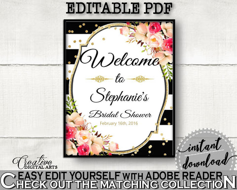 Bridal Shower Welcome Sign Editable in Flower Bouquet Black Stripes Bridal Shower Black And Gold Theme, editable door sign, prints - QMK20 - Digital Product